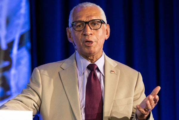 Charlie Bolden, former astronaut and NASA Administrator addresses attendees during his luncheon keynote at the inaugural John Glenn Memorial Symposium on July 12, 2019, in Cleveland, Ohio Credit / Patrick Rouin, AAS