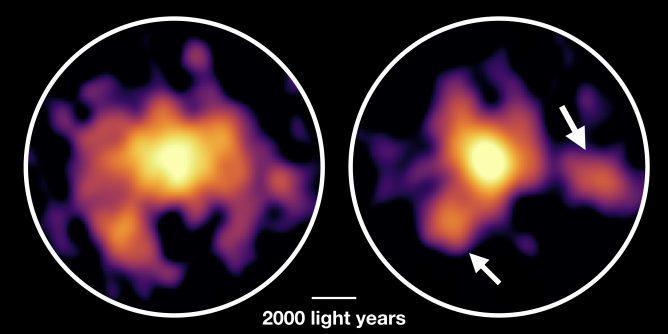Peta gas molekular (kiri) dan partikel debu (kanan) di galaksi starburst COSMOS-AzTEC-1. Kredit: ALMA (ESO/NAOJ/NRAO), Tadaki et al.