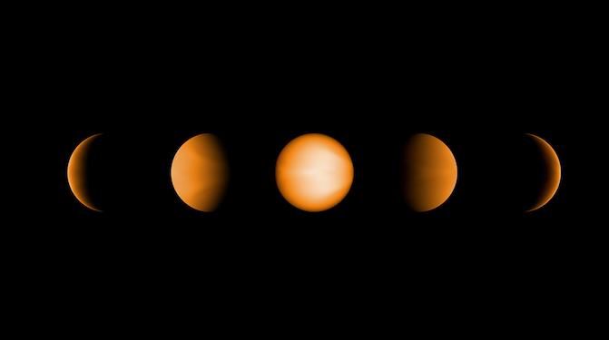 Simulasi planet Jupiter ultrapanas jika diamati dari 5 sisi berbeda. Kredit: NASA/JPL-Caltech/Vivien Parmentier/Aix-Marseille University (AMU)