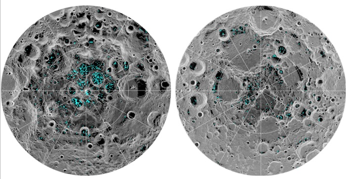Distribusi es pada kutub selatan (kiri) dan kutub utara (kanan) Bulan. Kredit: NASA