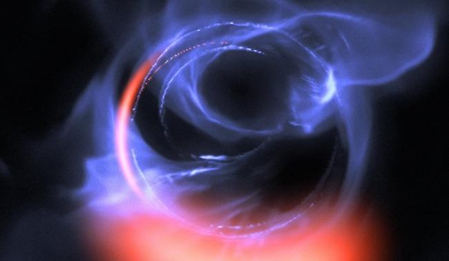 Simulasi gerak materi di sekeliling lubang hitam. Kredit: ESO/Gravity Consortium/L. Calçada