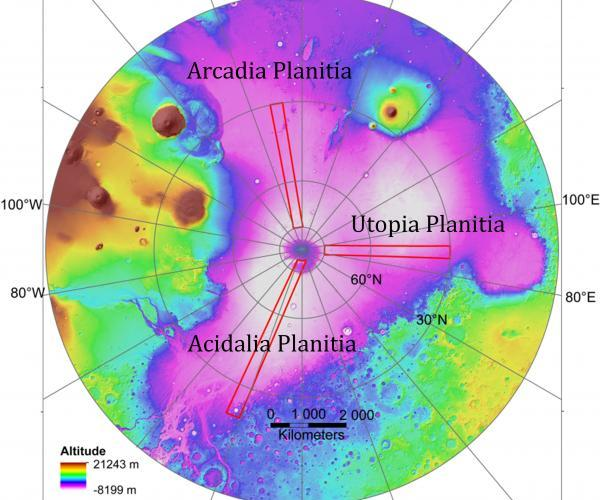 Area dataran utara Mars yang diteliti. Kredit: Planetary Science Institute