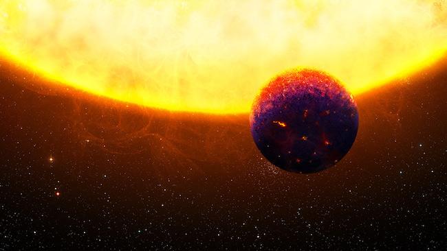 Ilustrasi eksoplanet bumi super eksotis 55 Cancri e yang dijuluki planet berlian. Kredit: Thibaut Roger