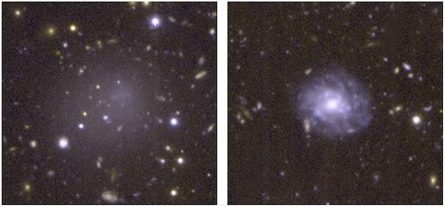 Kiri: Galaksi DGSAT I yang tampak redup dan baur karena memiliki sedikit bintang. Kanan: Galaksi spiiral normal dengan ukuran yang sama dengan DGSAT I. Kredit: A. ROMANOWSKY/UCO/D. MARTINEZ-DELGADO/ARI