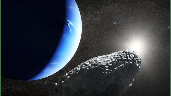 Ilustrasi Hippocamp, satelit kecil Neptunus. Kredit: NASA