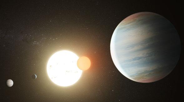 Ilustrasi sistem sirkumbinari Kepler-47. Kredit: NASA/JPL Caltech/T. Pyle