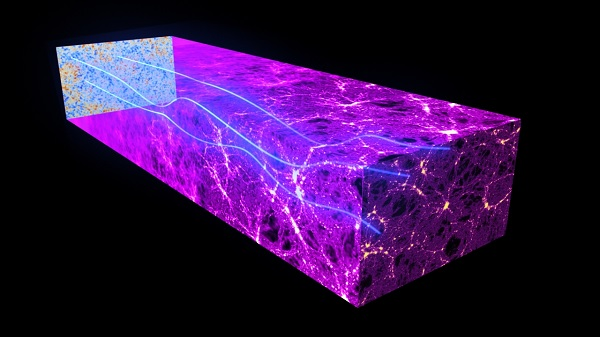 Pelensaan gravitasi dari radiasi latar belakang yang diamati Planck. Kredit: ESA