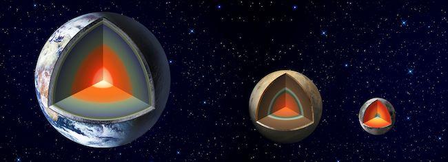 Interior Bumi, Mars, dan Bulan. Kredit: NASA/JPL-Caltech.