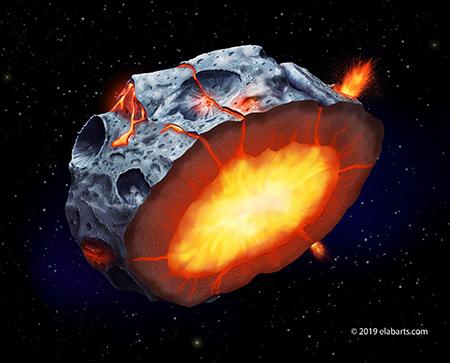 Ilustrasi asteroid logam. Kredit:Elena Hartley