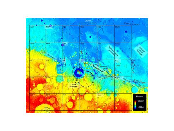 Lokasi penemuan metana di atmosfer yang berada di atas kawah Gale. Kredit: Giuranna et al., 2019