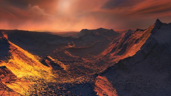 Ilustrasi permukaan planet Barnard b. Kredit: ESO/M. Kornmesser.