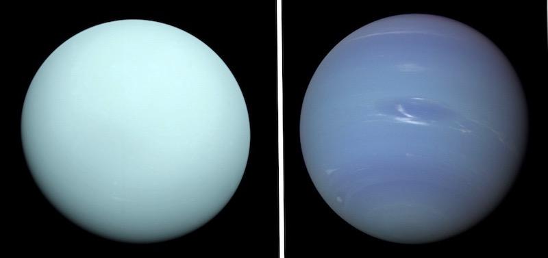 Uranus dan Neptunus yang dipotret Voyager 2. Kredit: NASA/JPL