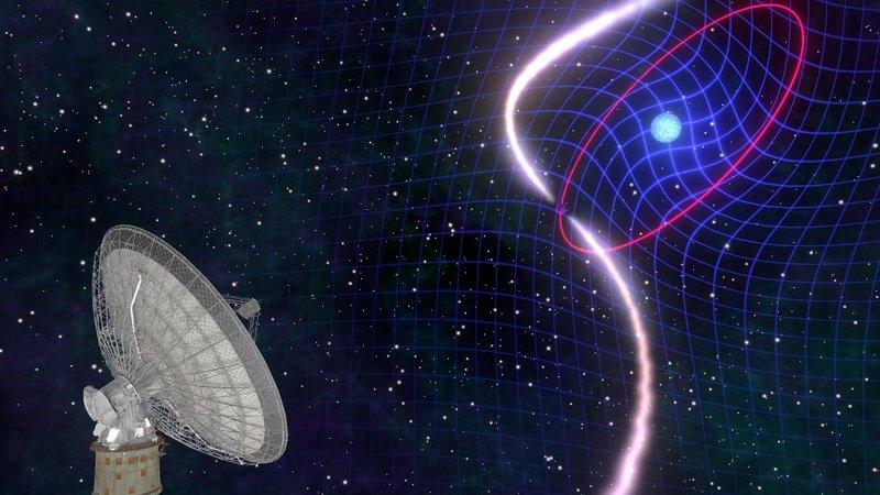 Pasangan bintang katai putih berputar cepat dan pulsar yang menyebabkan ruang waktu melengkung atau tertarik. Kredit: Mark Myers/ARC Centre of Excellence for Gravitational Wave Discovery (OzGrav), Australia