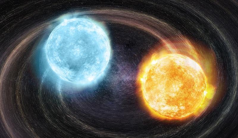 Pasangan bintang katai putih dengan inti helium yang merupakan sumber gelombang gravitasi. Kredit: M. Weiss
