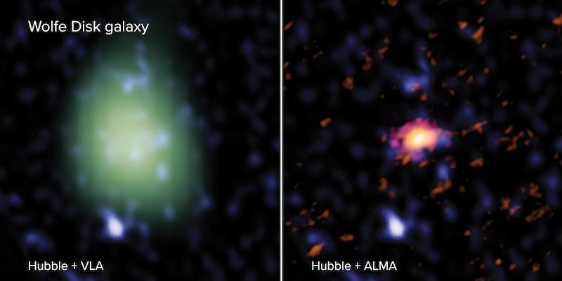 Piringan Wolfe seperti yang diamati ALMA (kiri), VLA (kanan), dan Teleskop Hubble (kiri & kanan dalam warna biru ). Kredit: ALMA (ESO/NAOJ/NRAO), M. Neeleman; NRAO/AUI/NSF, S. Dagnello; NASA/ESA Hubble