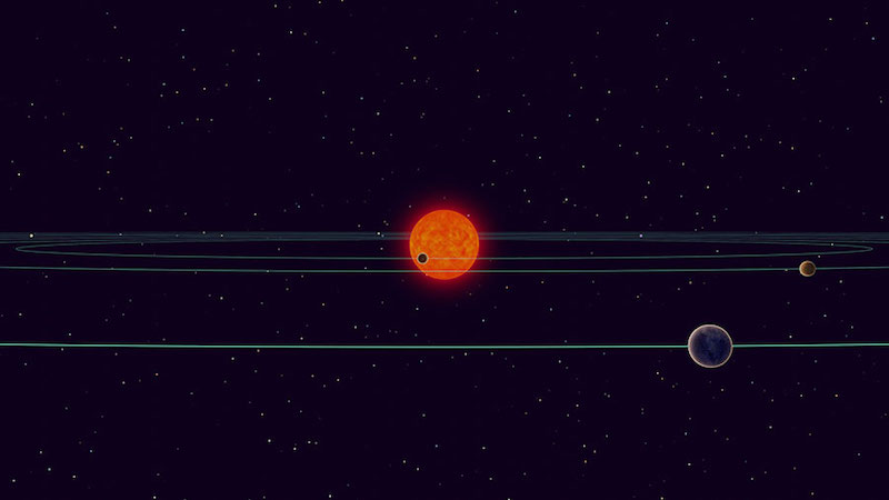 Ilustrasi sistem TRAPPIST-1. Kredit: NAOJ