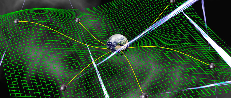 A network of pulsars being used to search for gravitational waves, or ripples in space-time predicted by general relativity. These waves cause changes in the arrival times of pulsar radio signals that are correlated between pulsars in a way that depends on their separation on the sky. They are detectable from Earth with sensitive radio timing observations. Image credit: David Champion