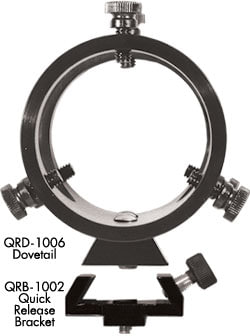 Dual rings of QFM-1008 attach to Tele Vue scopes with Dovetail into Quick Release Bracket