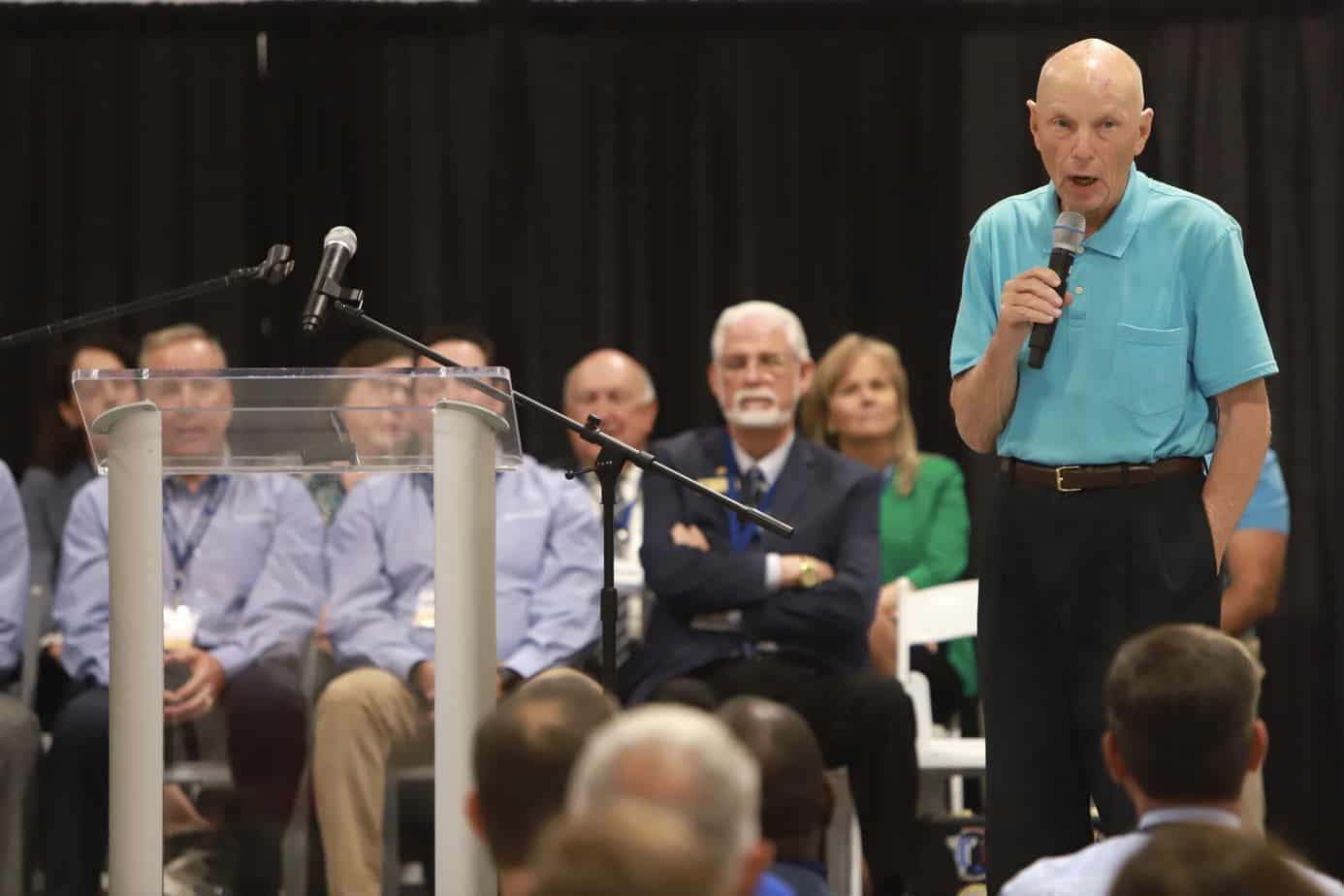 Astronaut Story Musgrave speaking at Astro Pak Open House