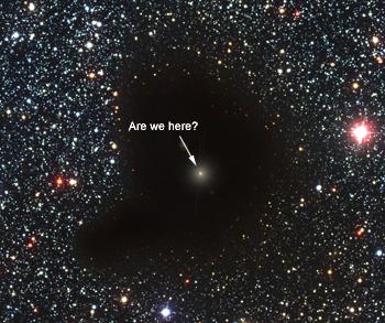 Nebulosa escura, nuvem molecular conhecida como  glóbulo de Bok, nomeada Barnard 68. Esta nebulosa é utilizada aqui somente para efeitos de ilustração.