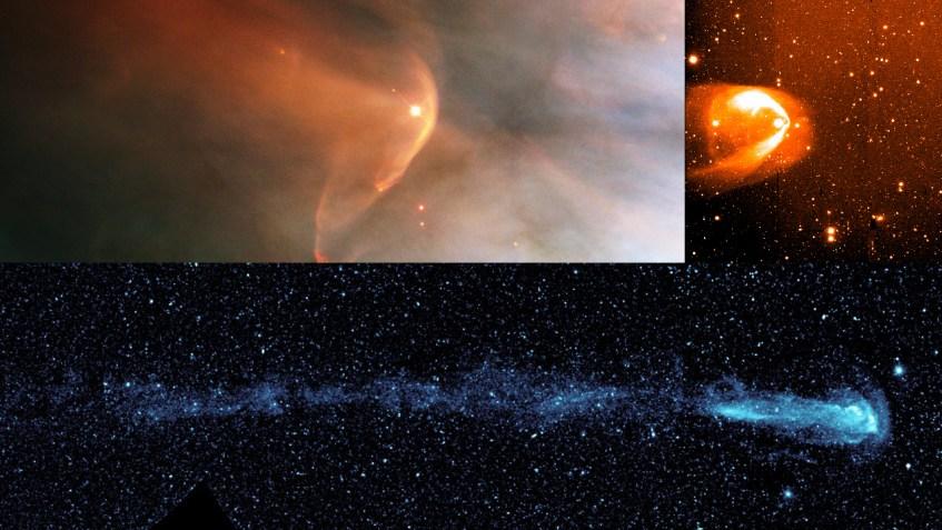 Caudas vistas nas estrelas LLOrionis , BZ Cam , e Mira. Crédito das imagens: NASA/HST/R.Casalegno/GALEX