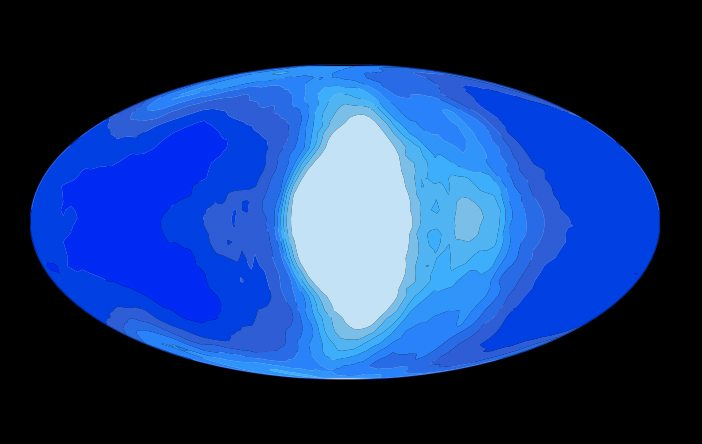 Esta ilustração mostra a simulação de nuvens (parte branca) numa planeta que está gravitacionalmente preso à sua estrela amã vermelha. Crédito: Jun Yang