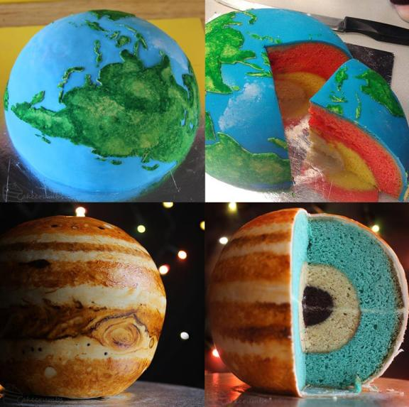 Bolo da Terra e Júpiter. Crédito: http://cakecrumbs.me/2013/08/01/spherical-concentric-layer-cake-tutorial/#more-869