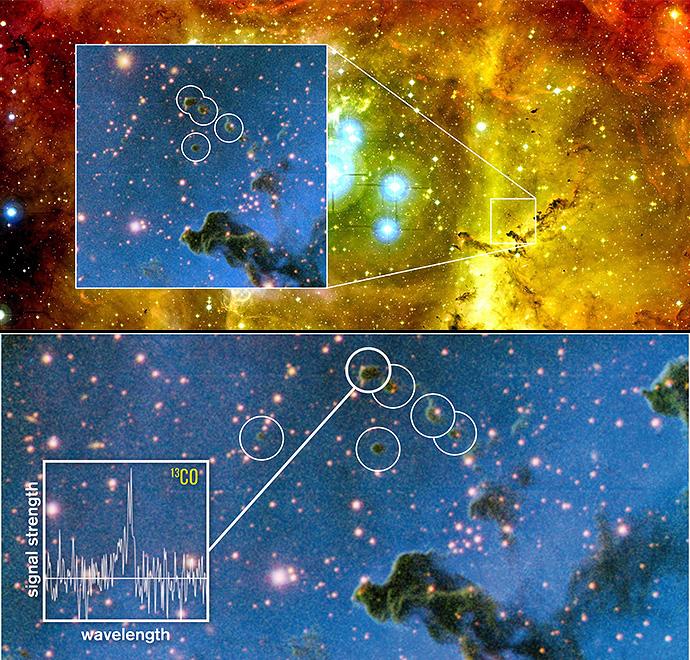 Os astrónomos encontraram estas pequenas, redondas e escuras nuvens chamadas globulettes, que têm as características necessárias para formarem planetas-órfãos. O gráfico mostra a constituição química que uma das globulettes. As ondas-rádio das moléculas de monóxido de carbono dão a informação sobre a massa e a estrutura destas pequenas nuvens escuras. Crédito: ESO/M. Mäkelä