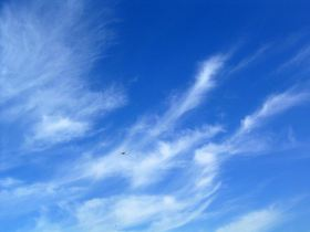 As nuvens cirrus contribuem para o efeito de estufa e os contrails persistentes podem evoluir para este tipo de nuvens. (Avião com nuvens cirrus em pano de fundo). Crédito: Simon Eugster.
