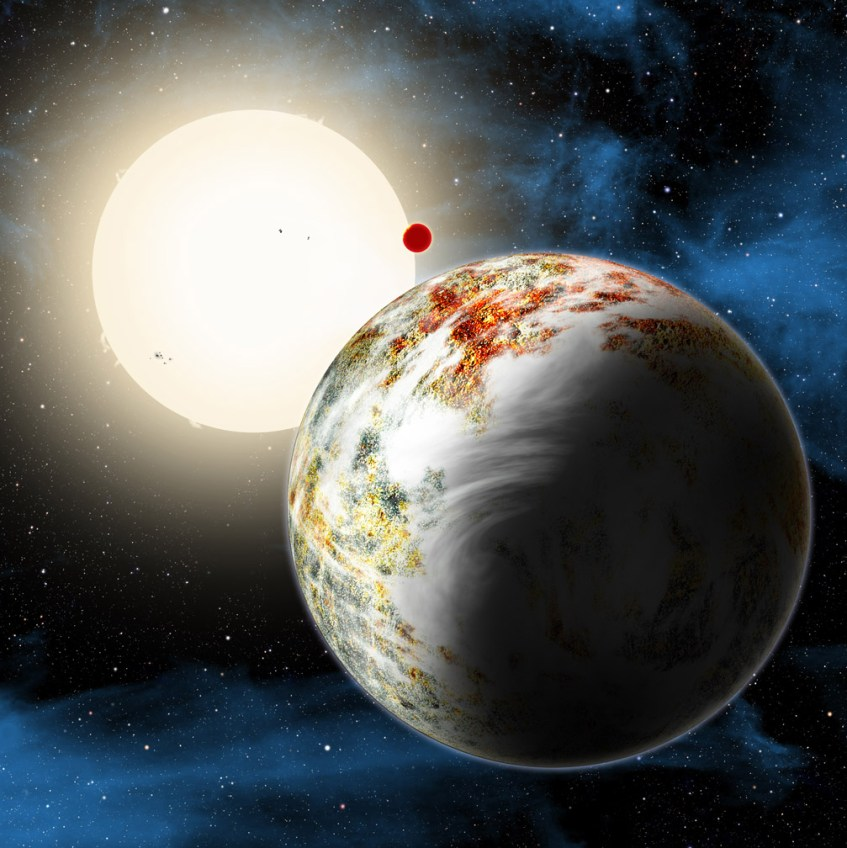 Ilustração Artística do exoplaneta agora descoberto: Kepler-10c. É uma Mega-Terra. O seu irmão, Kepler-10b, um planeta de lava, também aparece nesta imagem. Ambos orbitam uma estrela similar ao Sol. Kepler-10c tem um diâmetro de cerca  de 29 mil km, ou seja, é 2,3 vezes maior que a Terra, e tem uma massa 17 vezes superior à Terra. É um planeta rochoso, bastante sólido. Crédito: David A. Aguilar (CfA)