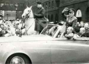 Gagarin approaching Manchester Town hall