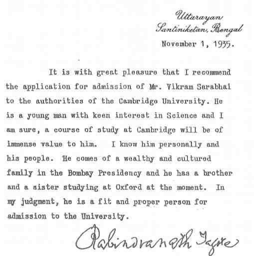 Vikram Sarabhai Letter of recommendation for University of Cambridge