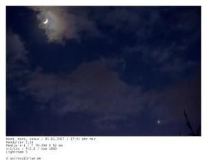 Mond, Venus, Mars