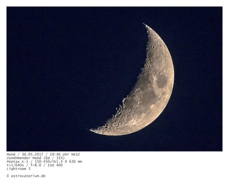 Zunehmender Mond (6d/31%) / 30.05.2017