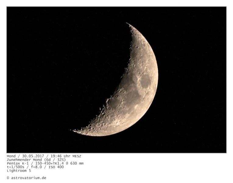 Zunehmender Mond (6d/32%) / 30.05.2017