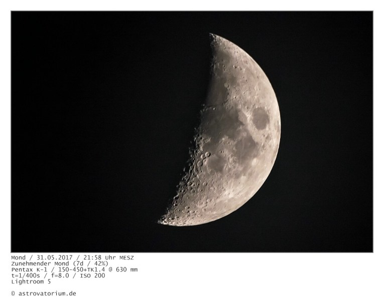 Zunehmender Mond (7d/42%) / 31.05.2017