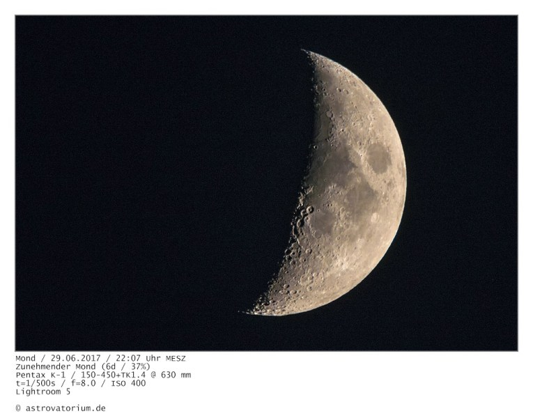 Zunehmender Mond (6d/37%) / 29.06.2017