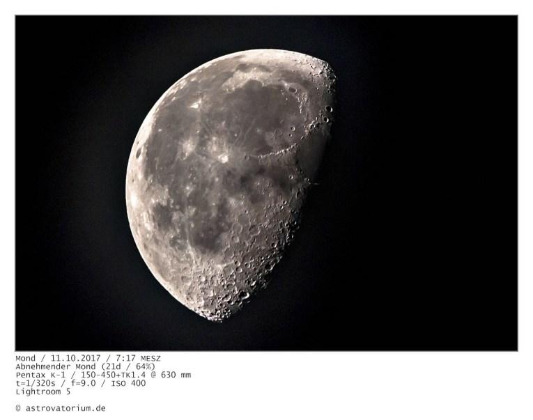 Abnehmender Mond (16d/98%) / 07.10.2017