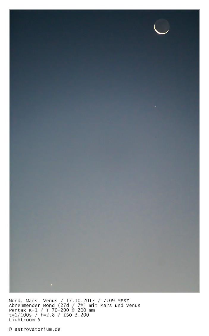 Abnehmender Mond (27d/13%) mit Mars und Venus / 17.10.2017