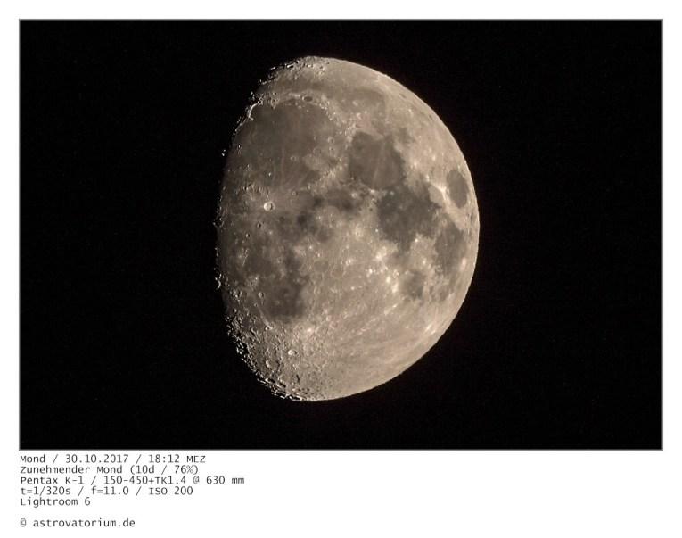 Zunehmender Mond (10d/76%) / 30.10.2017