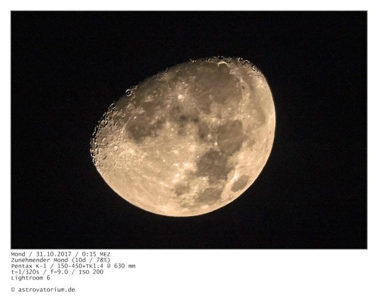 Zunehmender Mond (10d/78%) / 31.10.2017