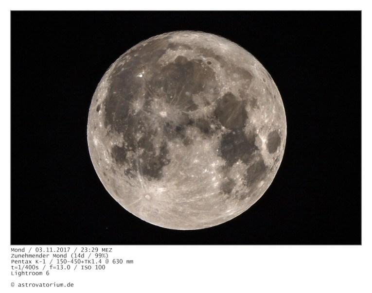 Zunehmender Mond (14d/99%) / 03.11.2017