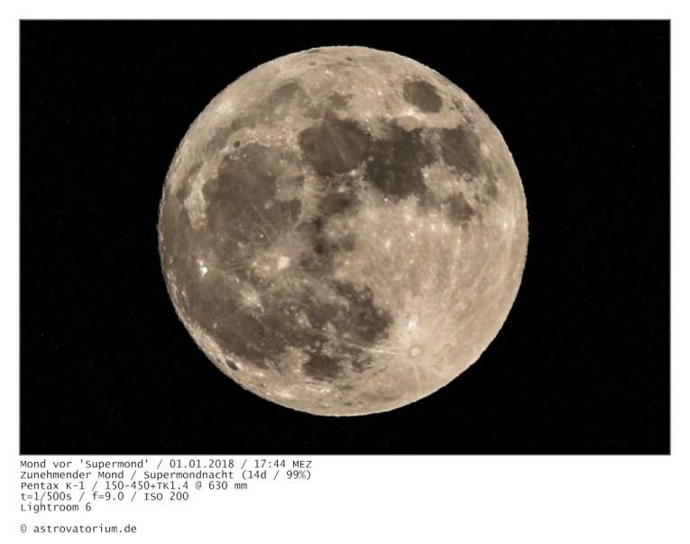 Zunehmender Super-Mond (14d/99%) / 01.01.2018