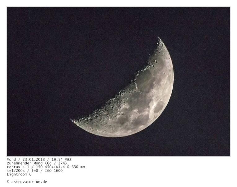 Zunehmender Mond (6d/37%) / 23.01.2018