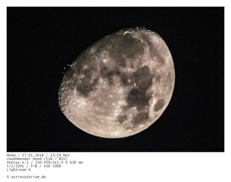 Zunehmender Mond (11d/81%) / 27.01.2018