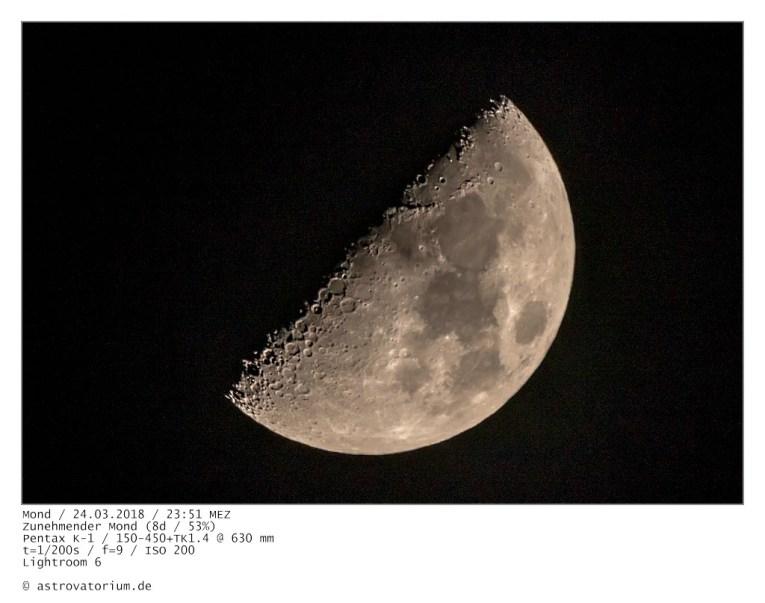 Zunehmender Mond (8d/53%) / 24.03.2018
