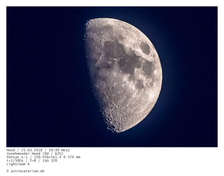 Zunehmender Mond (9d/62%) / 25.03.2018