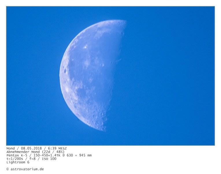 Abnehmender Mond (22d/48%) / 08.05.2018