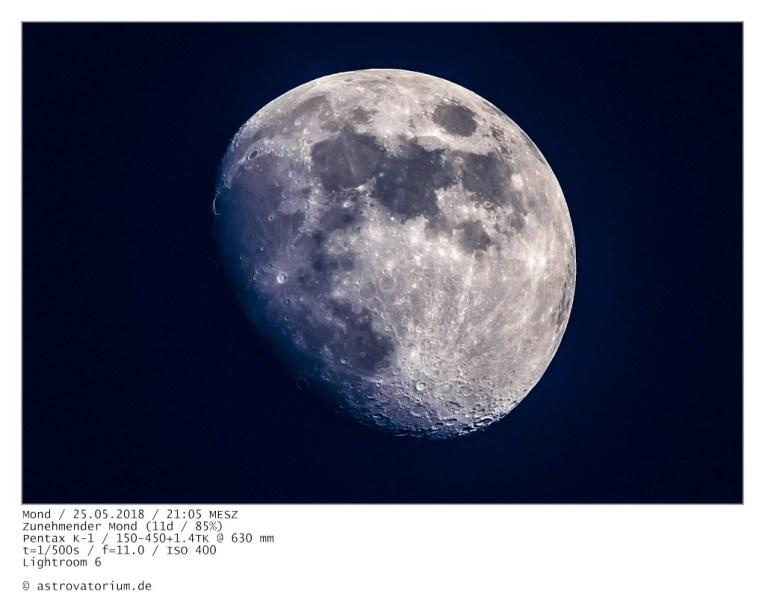 Zunehmender Mond (10d/78%) / 25.05.2018