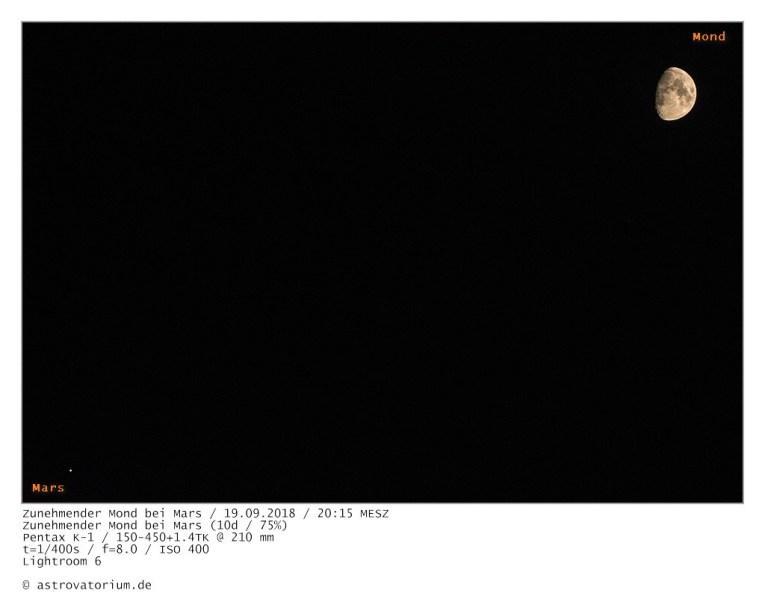 180919 Zunehmender Mond bei Mars 10d_75vH_beschriftet